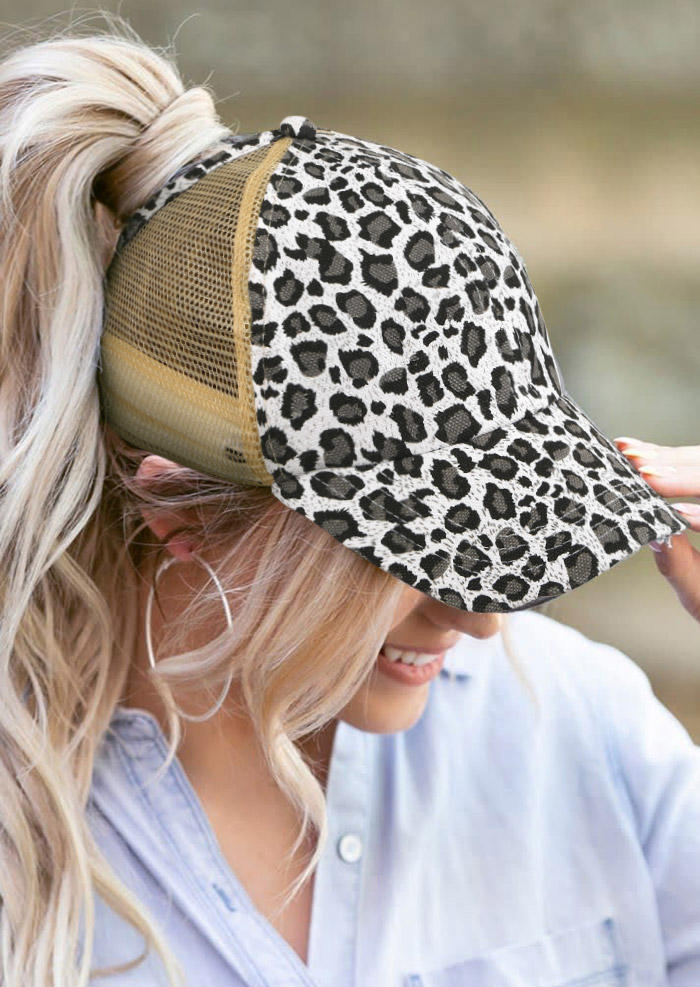 Leopard Hollow Out Ponytail Baseball Cap