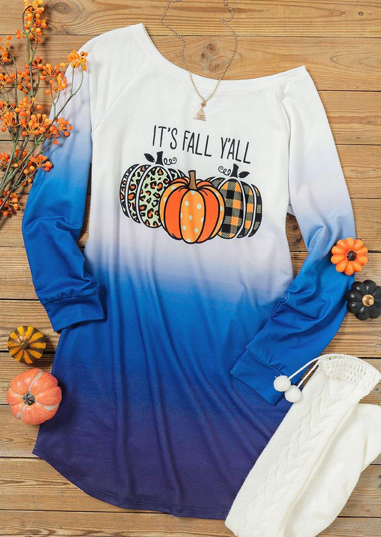 Halloween Gradient It's Fall Y'all Pumpkin Mini Sweatshirt Dress