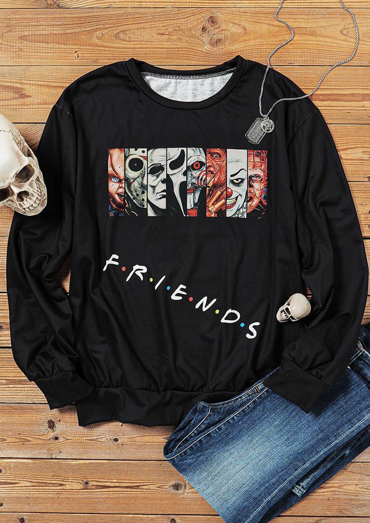 Halloween Character Long Sleeve Pullover Sweatshirt - Black