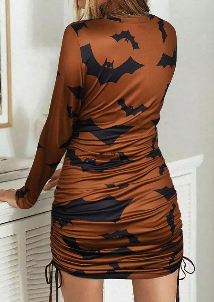 Halloween Bat Ruched Drawstring Mini Dress