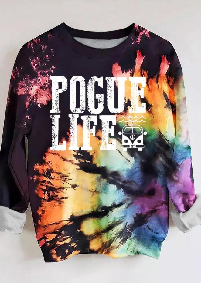 Pogue Life Tie Dye O-Neck Long Sleeve Sweatshirt