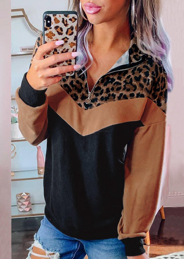 Zipper Leopard Splicing Color Block LongSleeve Blouse