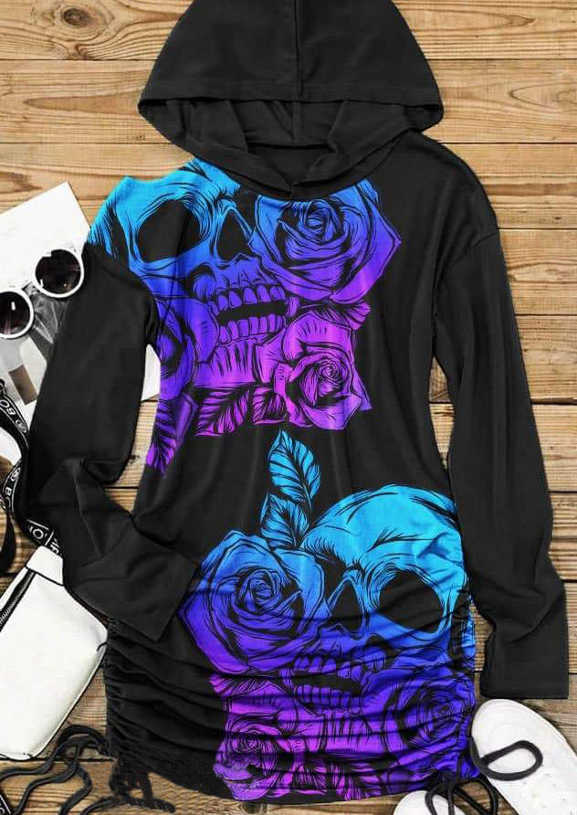 Halloween Skull Rose Drawstring Mini Dress - Black