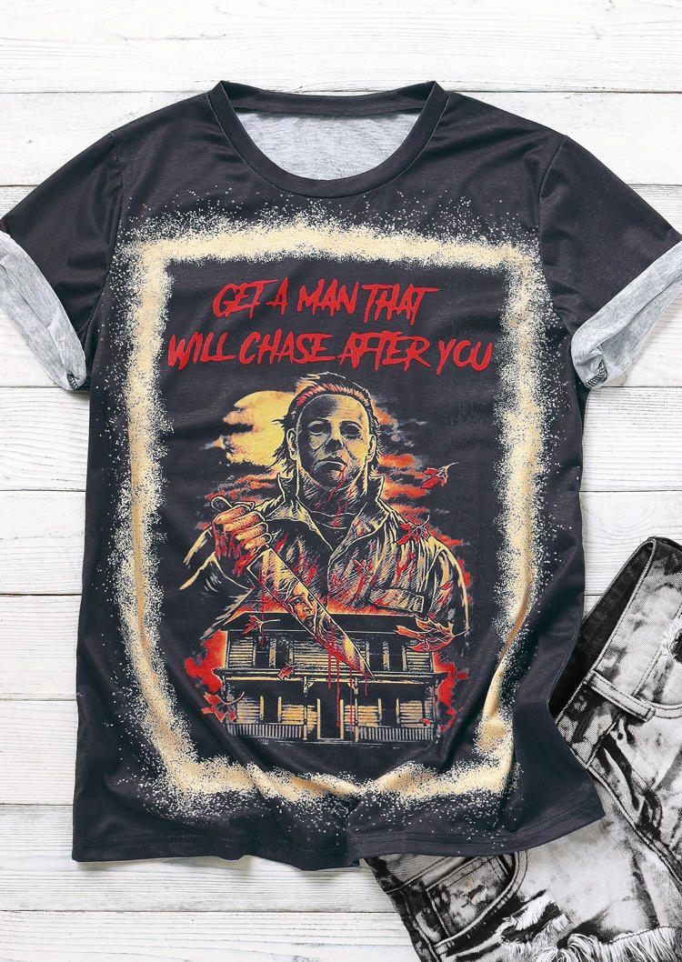 Get A Man That Will Chase After You Halloween Bleached T-Shirt Tee - Purple
