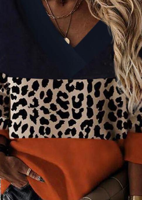 Leopard Color Block Long Sleeve Blouse