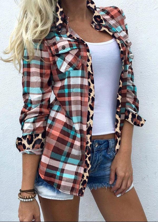 Leopard Plaid Pocket Turn-Down Collar Shirt