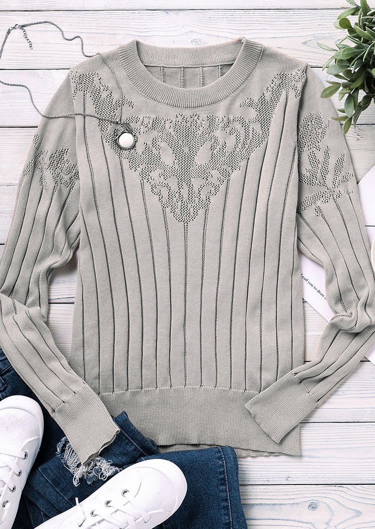Floral LongSleeve O-Neck Sweater - Khaki