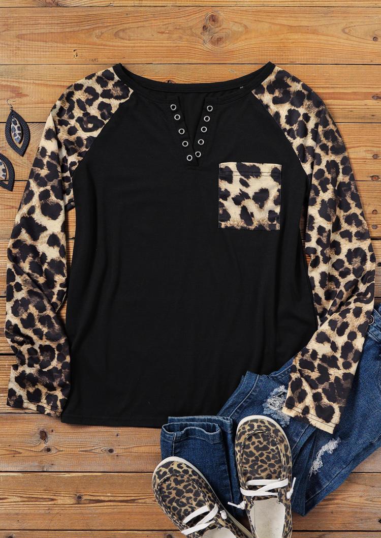 Leopard Pocket Notched Neck Raglan Sleeve Blouse - Black