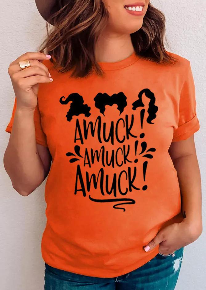 Halloween Witch Amuck  T-Shirt Tee - Orange