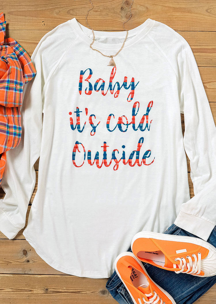 Baby It's Cold Outside O-Neck Blouse - White