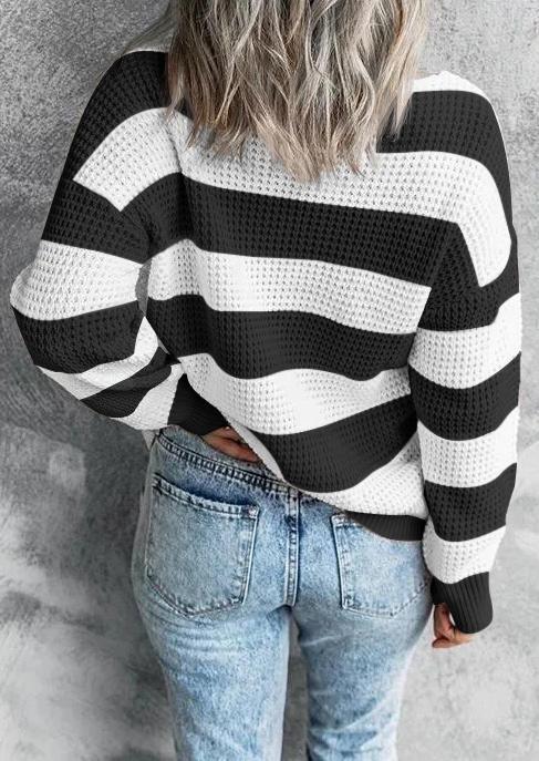 Striped LongSleeve V-Neck Sweater