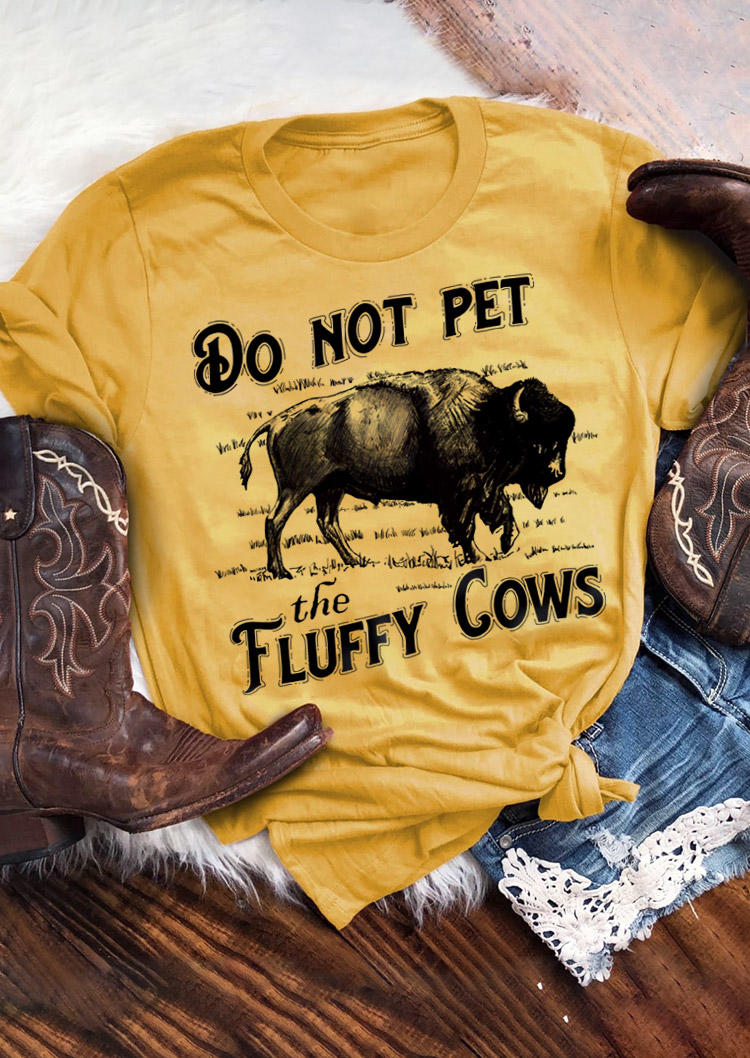 Do Not Pet The Fluffy Cows T-ShirtTee - Yellow