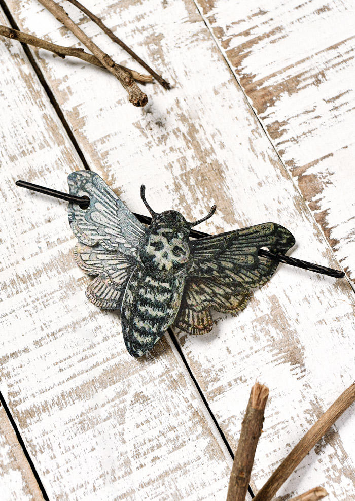 Halloween Moth Skull Hairpin