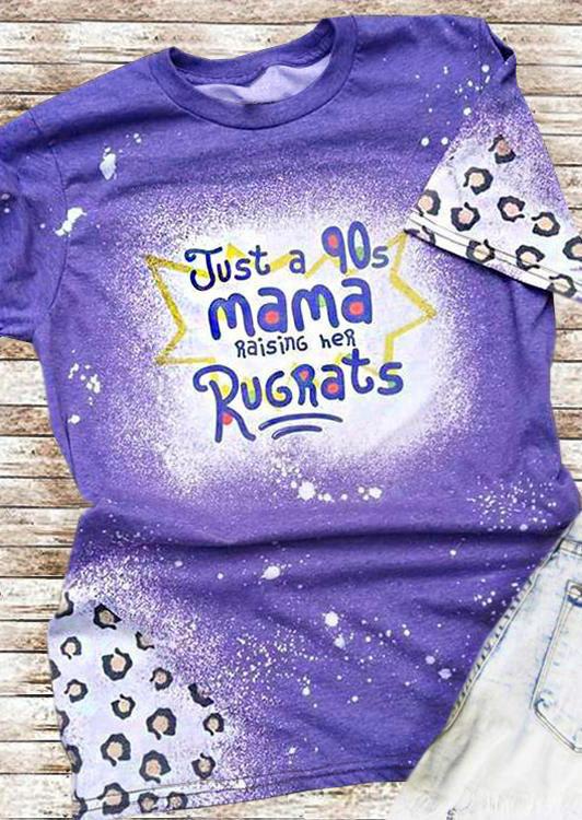 Leopard Just A 90s Mama Raising Her Rugrats T-Shirt Tee - Purple