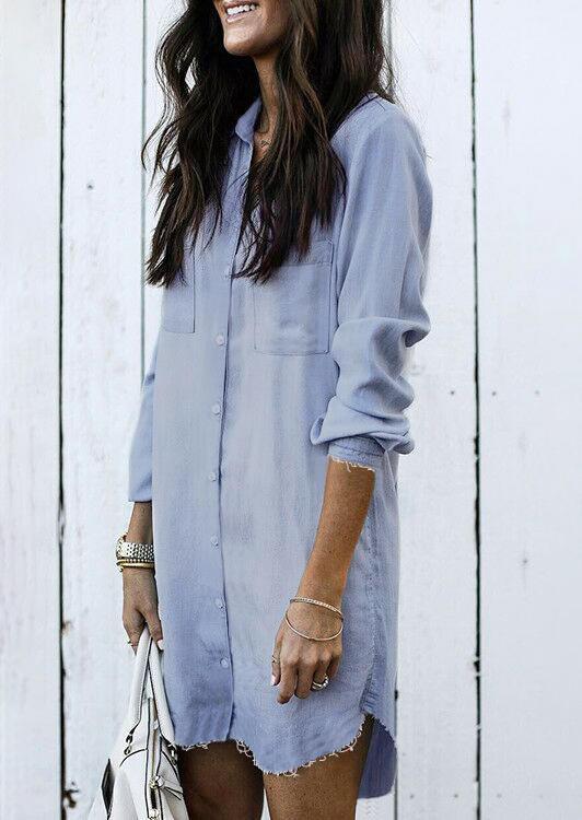 Asymmetric Button Fake Denim Mini Dress - Light Blue