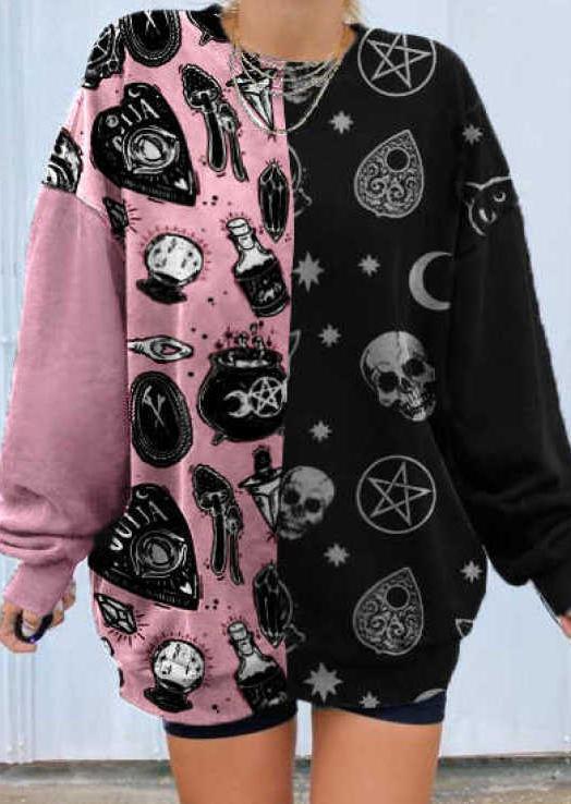 Skull Heart Color Block Sweatshirt