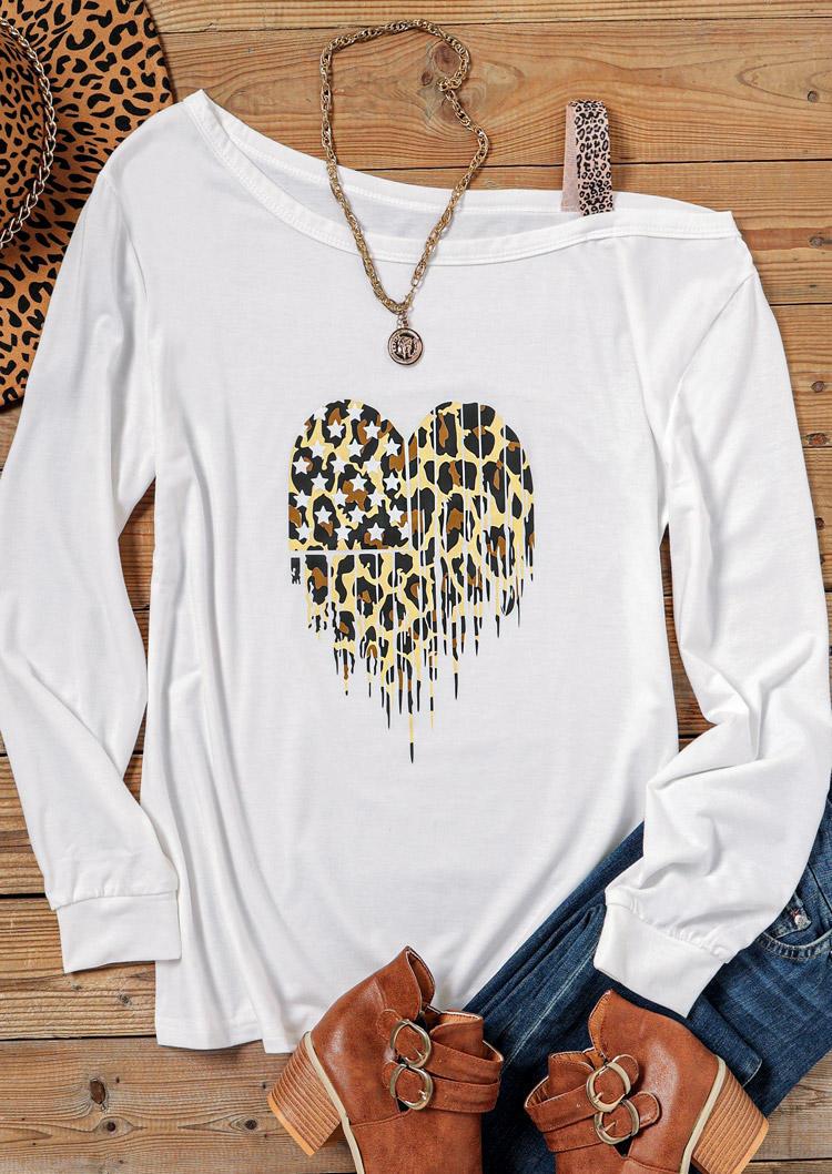 Leopard Heart Long Sleeve Blouse - White