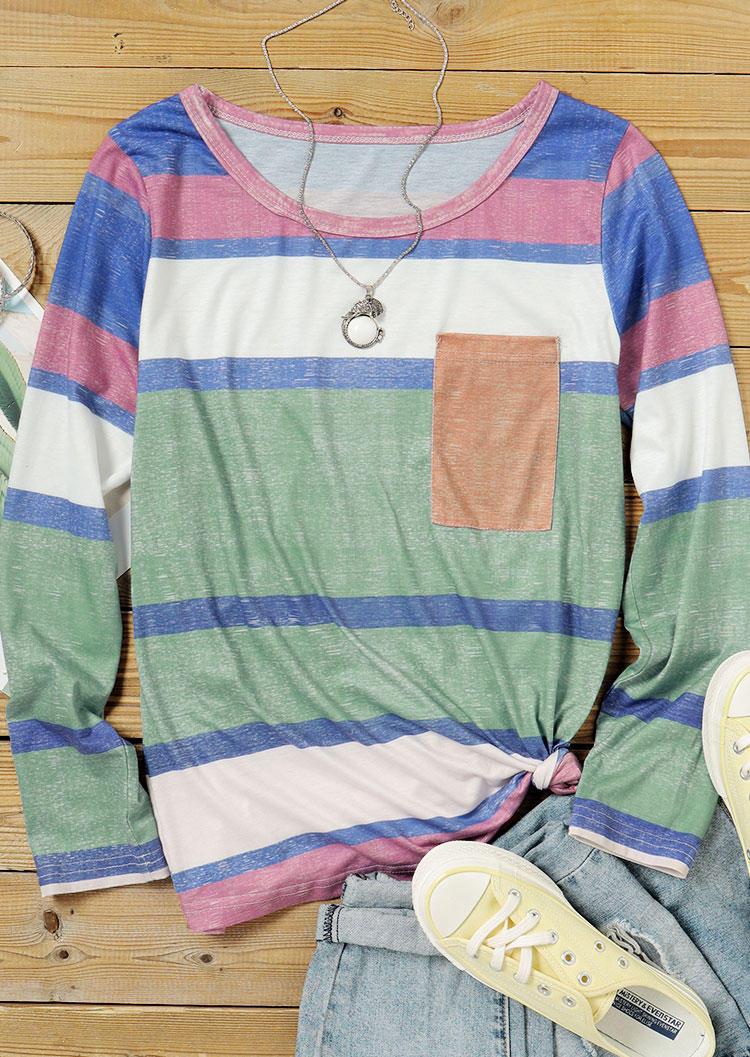 Colorful Striped Pocket LongSleeve Blouse