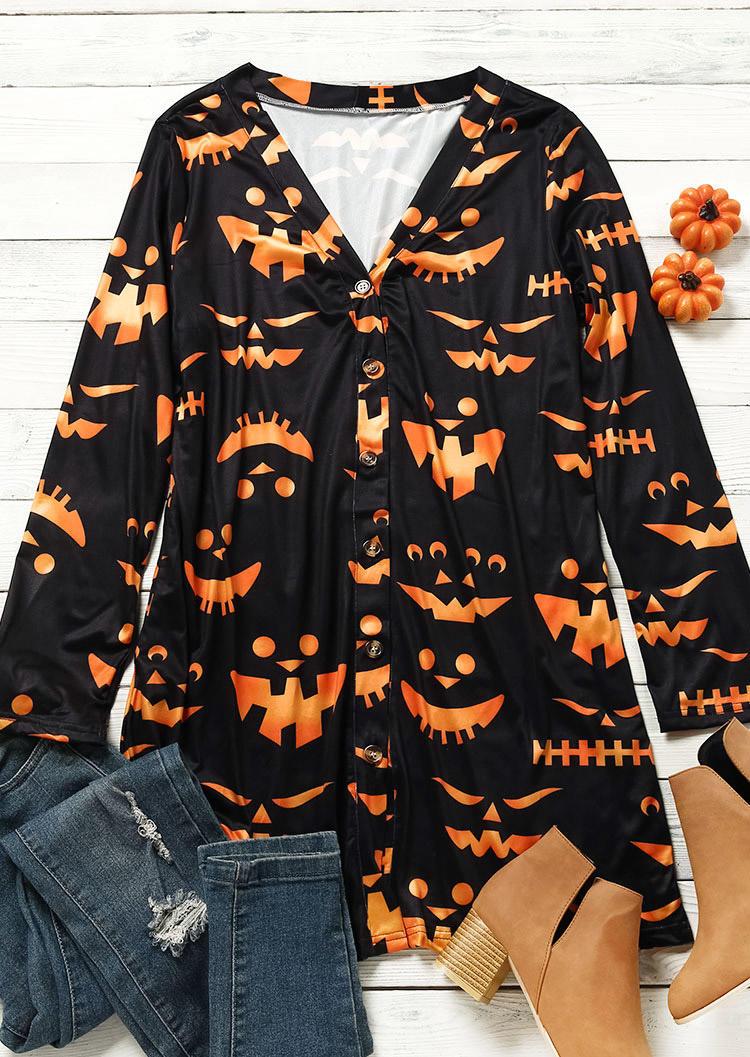 Halloween Pumpkin Face Button Cardigan - Black