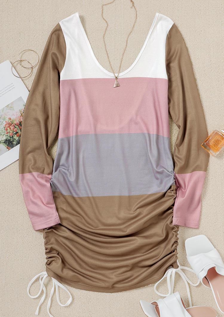 Drawstring Color Block Open Back Mini Dress