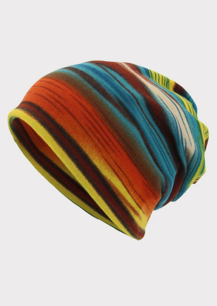 Colorful Striped Hollow Out Hat