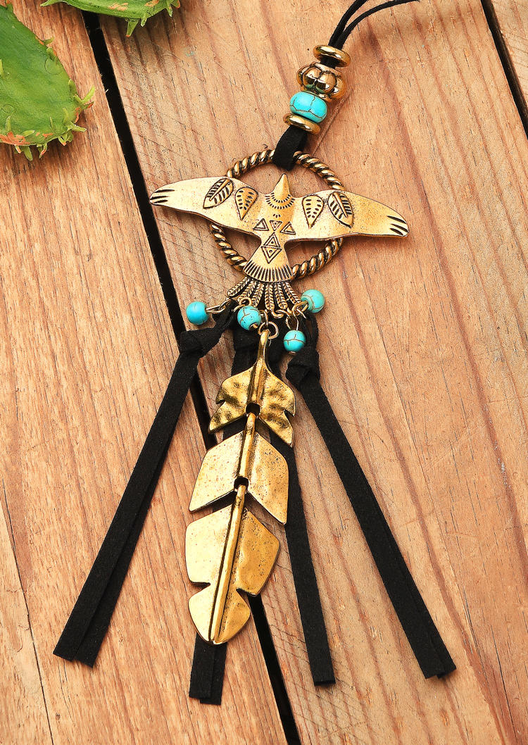 Eagle Turquoise Feather Necklace
