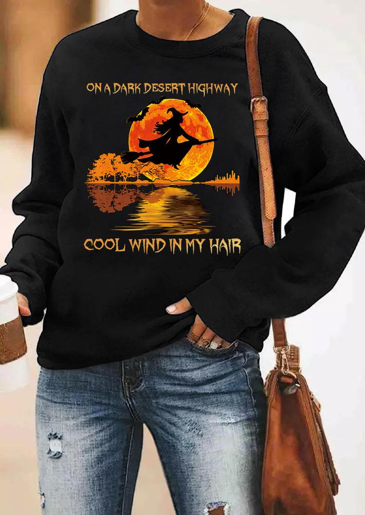 Halloween On A Dark Desert Highway Sweatshirt - Black