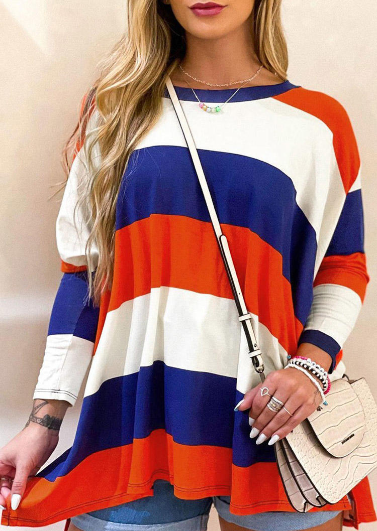 Color Block Striped Long Sleeve Blouse