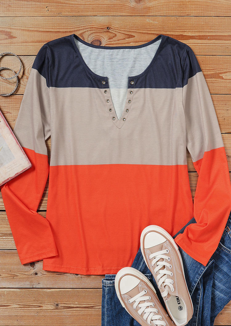 Color Block Notched Neck Casual Blouse without Black Camisole