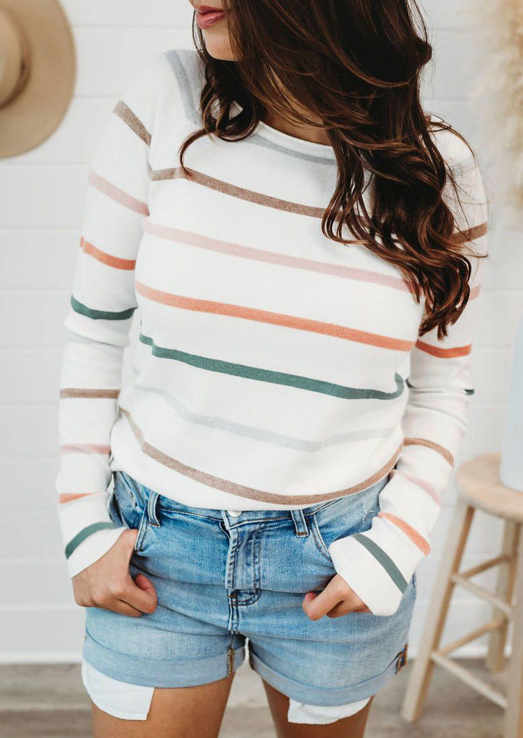 Colorful Striped Long Sleeve Blouse - White