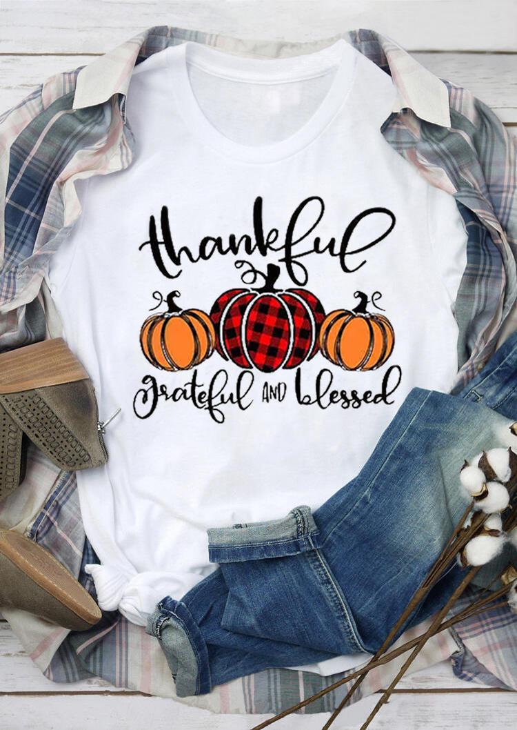 Thankful Grateful And Blessed Buffalo Plaid Pumpkin T-Shirt Tee - White