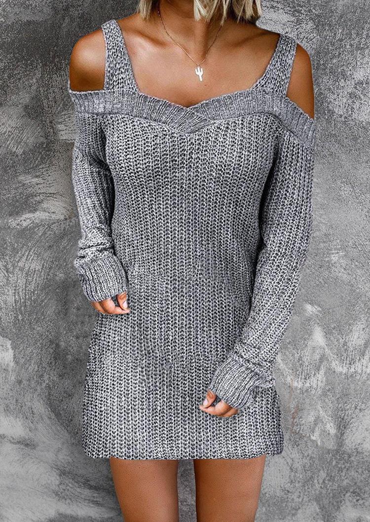 Cold Shoulder Long Sleeve Sweater Mini Dress - Gray