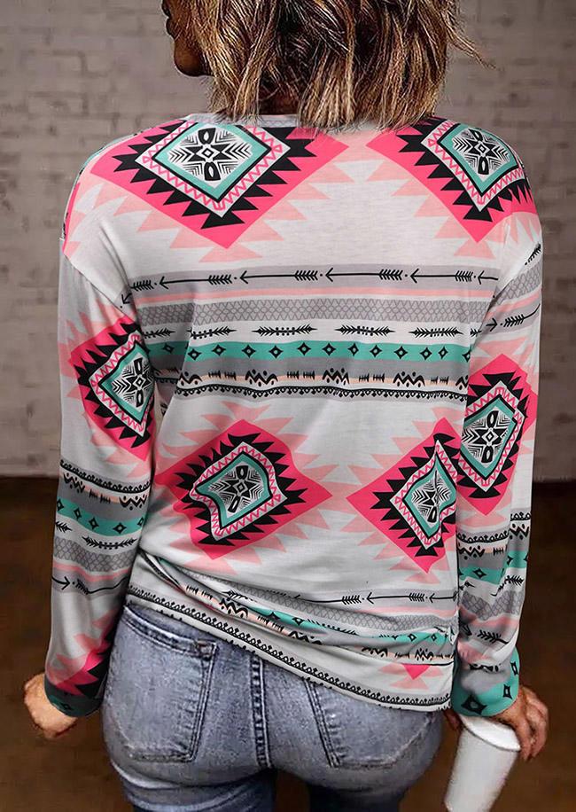 AztecGeometric LongSleeve O-Neck Blouse