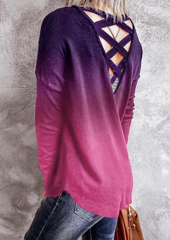 Gradient Criss-Cross Open Back Long Sleeve Blouse