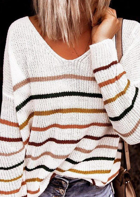 Colorful Striped Long Sleeve Sweater - White