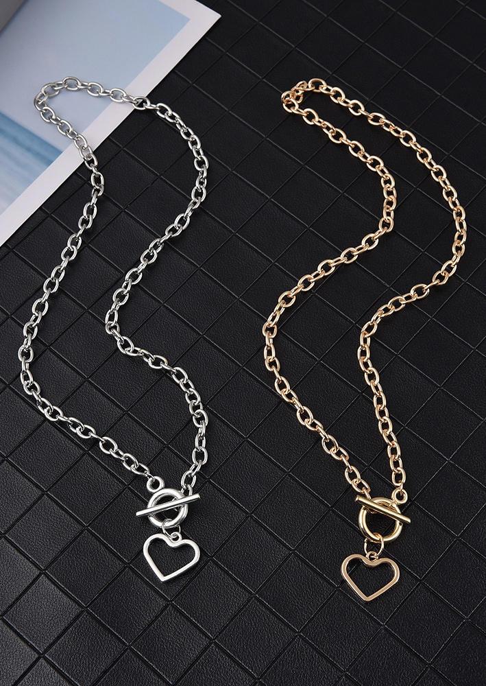 Vintage Hollow Out Heart Pendant Necklace