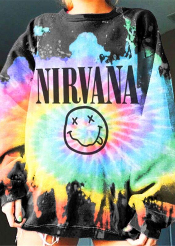 Tie Dye Nirvana Smiley Face Pullover Sweatshirt