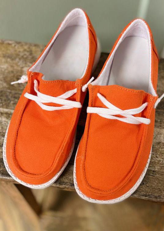 Slip On Flat Canvas Sneakers - Orange