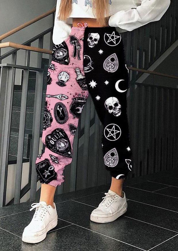 Halloween Skull Star Moon Color Block Sweatpants - Black