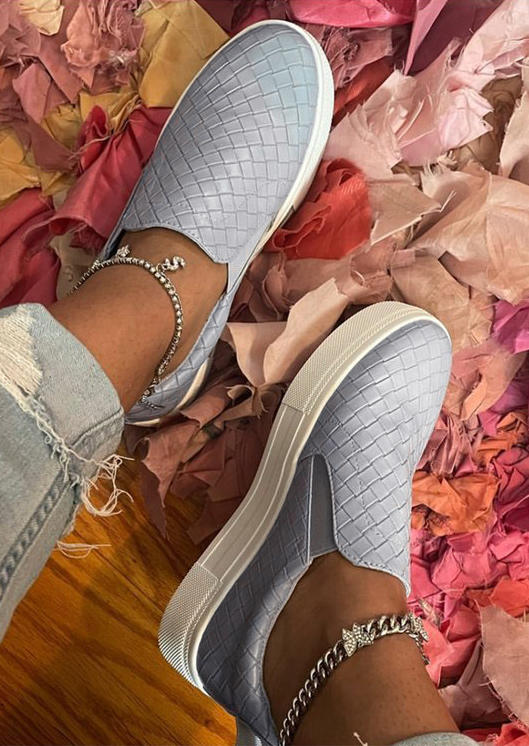Braided Round Roe Flat Sneakers - Gray
