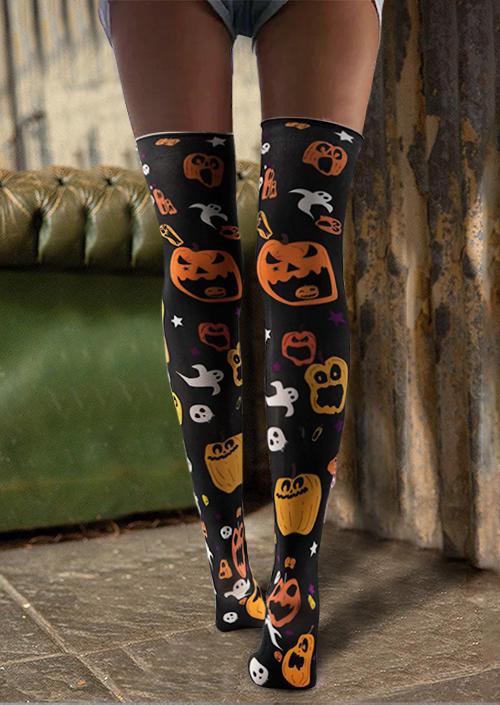 Halloween Ghost Pumpkin Over Knee Socks