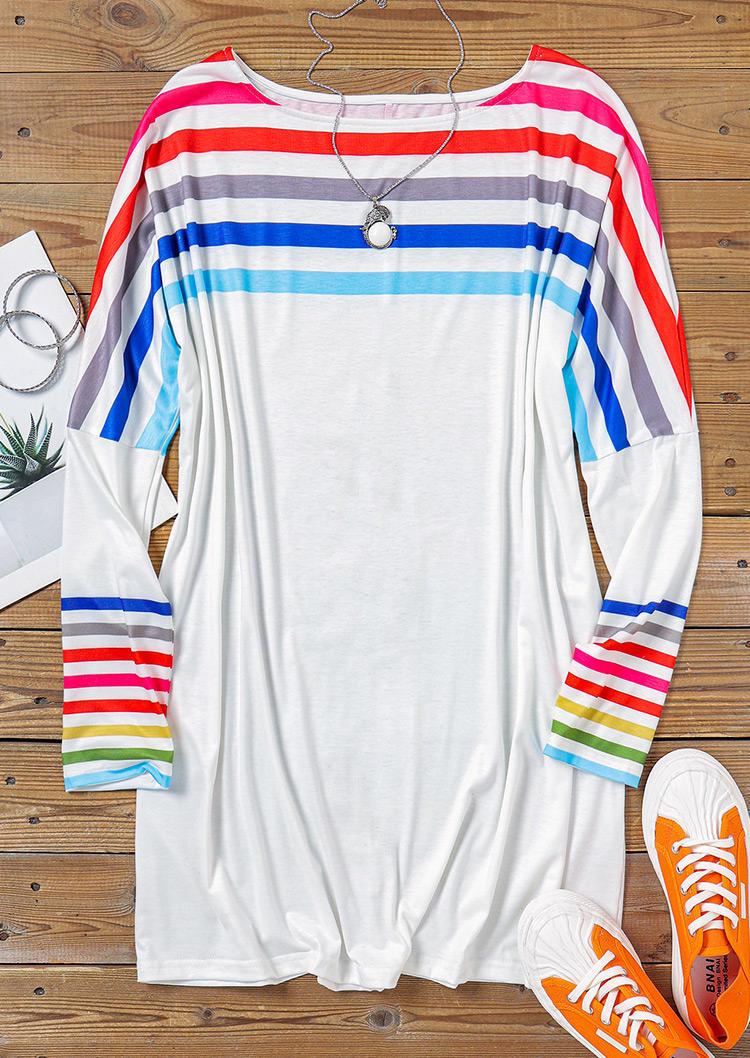 Colorful Striped LongSleeve Mini Dress - White