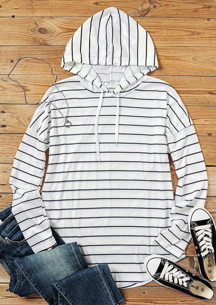 Striped Drawstring LongSleeve Hooded Blouse