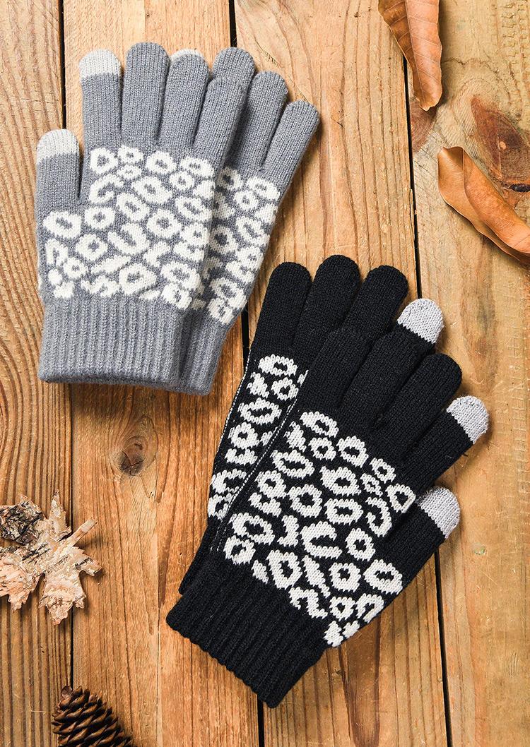 Winter Warm Leopard Knitted Gloves