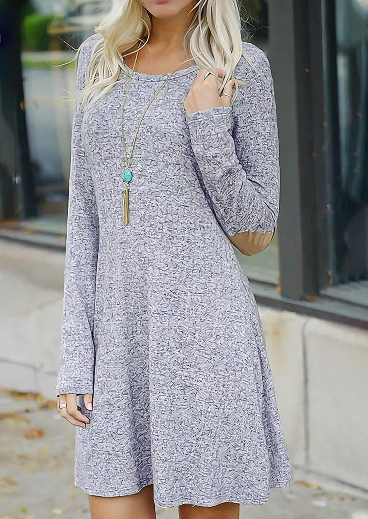 Open Back Elbow Patch Long Sleeve Mini Dress - Light Grey