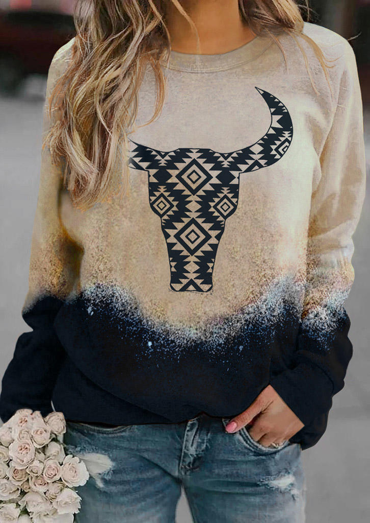 Aztec Geometric Steer Skull Sweatshirt - Khaki