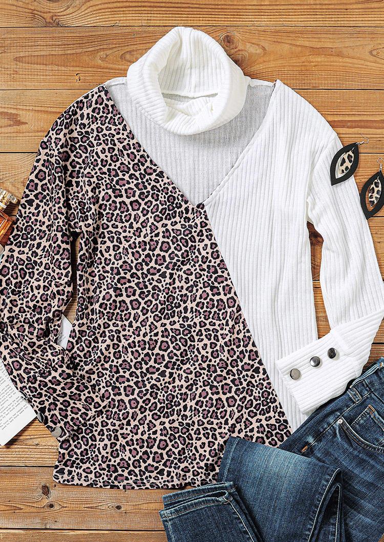 Leopard Button Hollow Out Turtleneck Blouse - White