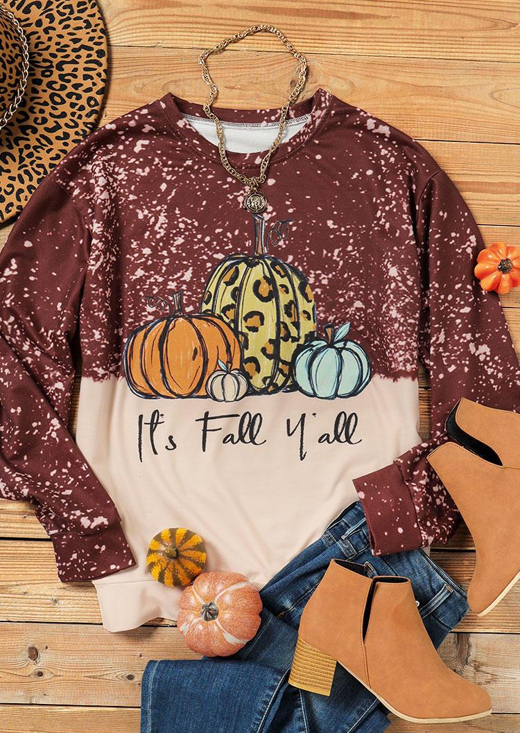 It's Fall Y'all Pumpkin Leopard Bleached Sweatshirt