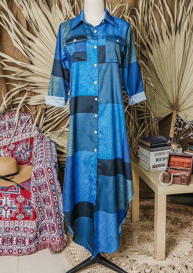 Color Block Pocket Turn-down Collar Asymmetric Maxi Dress - Blue