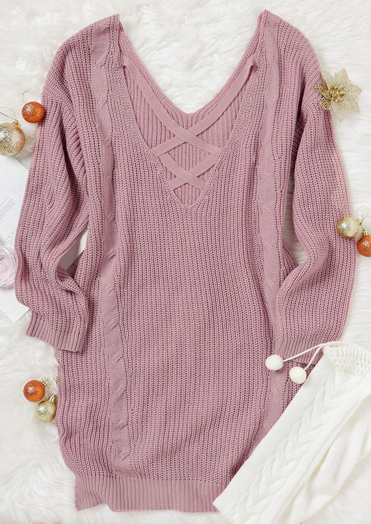 Criss-Cross Open Back LongSleeve Sweater Mini Dress - Light Pink